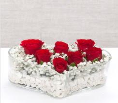 kalp içerisinde 7 adet kırmızı gül  Bayburt çiçek siparişi vermek