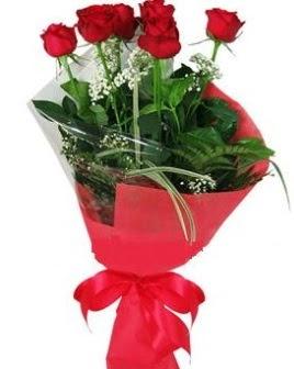5 adet kırmızı gülden buket  Bayburt kaliteli taze ve ucuz çiçekler