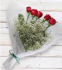 5 kırmızı gülden sade buket  Bayburt çiçek yolla