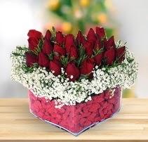 15 kırmızı gülden kalp mika çiçeği  Bayburt çiçek satışı