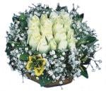 Bayburt çiçekçiler  Beyaz harika bir gül sepeti