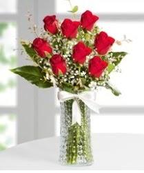 7 Adet vazoda kırmızı gül sevgiliye özel  Bayburt çiçek siparişi sitesi