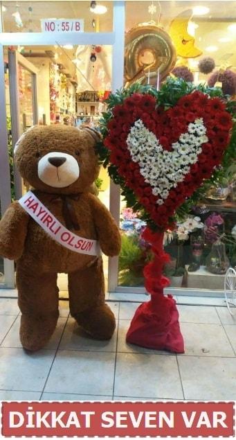 1.5 Metre peluş ayı ve Kalp  Bayburt çiçek gönderme sitemiz güvenlidir