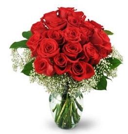 25 adet kırmızı gül cam vazoda  Bayburt çiçek , çiçekçi , çiçekçilik