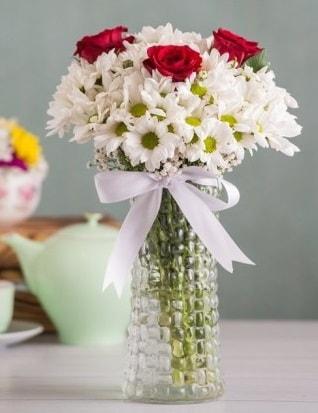 Papatya Ve Güllerin Uyumu camda  Bayburt çiçek gönderme sitemiz güvenlidir