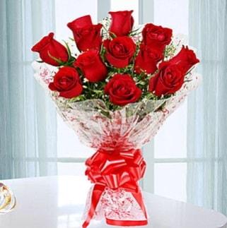 11 adet kırmızı gülden görsel şık buket  Bayburt ucuz çiçek gönder