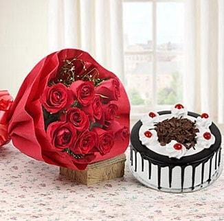 12 adet kırmızı gül 4 kişilik yaş pasta  Bayburt çiçek , çiçekçi , çiçekçilik