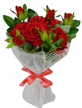 9 adet kırmızı gülden sade şık buket  Bayburt çiçekçi telefonları
