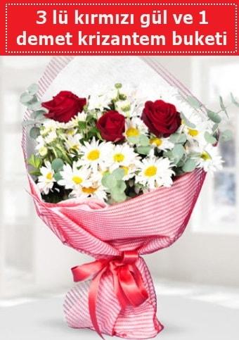 3 adet kırmızı gül ve krizantem buketi  Bayburt çiçek gönderme sitemiz güvenlidir