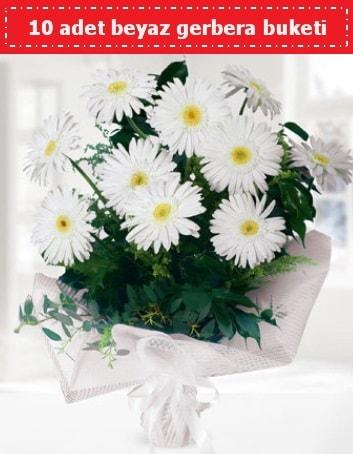 10 Adet beyaz gerbera buketi  Bayburt çiçek , çiçekçi , çiçekçilik