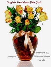 Bayburt internetten çiçek satışı  mika yada Cam vazoda 12 adet sari gül